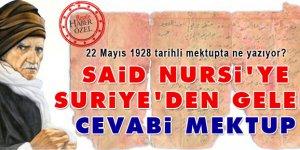 Said Nursi'ye Suriye'den gelen cevabi mektup