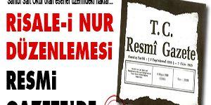 Risale-i Nur düzenlemesi Resmi Gazetede