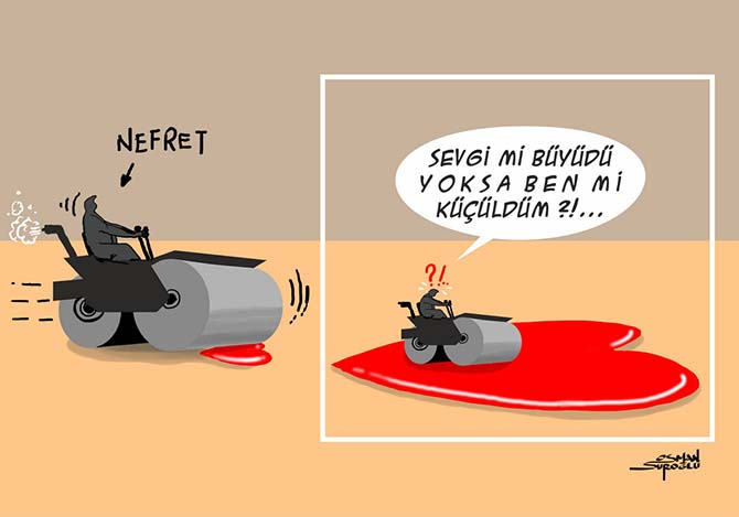 Osman Suroğlu Karikatür Nefret ve Sevgi